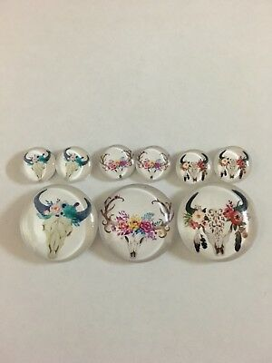 3 Sets of 1 x 25mm & 2 x 12mm Glass Dome Cabochons - Cow Skull Flowers Boho (6)