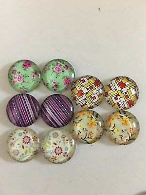 5 Pairs of 16mm Glass Dome Cabochons - Assorted Designs (2)