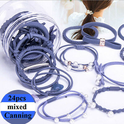 24 pcs Snagless Hair Ties / Hair Band / Hair Elastic / Ponytailer School colors