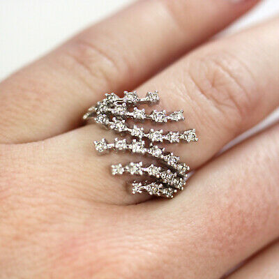 0.4 ct tw Natural Diamond Solid 14k White Gold Waterfall 6 Row Split Woman Ring