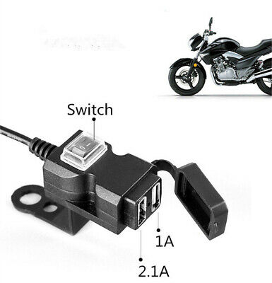 Waterproof Dual USB 12V Motorcycle Handlebar Charger Socket Switch & Mounts