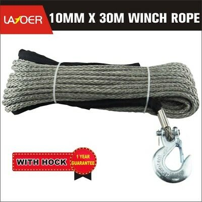 LAYOER 10mm x 30M Dyneema Winch Rope with Hook Synthetic for Car Recovery Tow