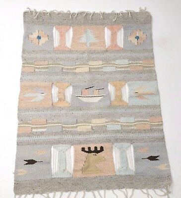 Vintage Mexico Hand Woven Wool Wall Hanging Tapestry Southwest Weaving Folk Art