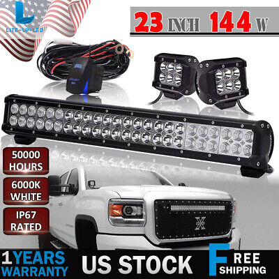 "23INCH LED Light Bar DUAL Row 144W Combo FIT Truck ATV Driving Lamp 22"" 24"""
