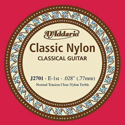 D'Addario J2701 Nylon Normal Tension Single First String for Classical Guitar