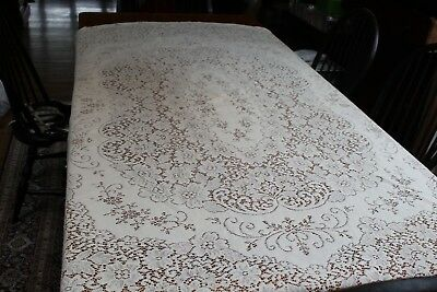 Vintage Cream Lace Tablecloth Oval 66x84 Oval