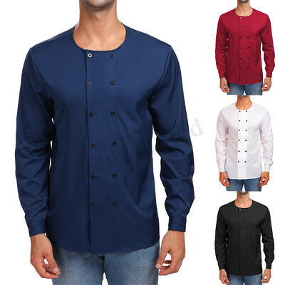 Mens Grandad Collarless Shirts Cotton Classic Causal Shirt Formal Office Tops