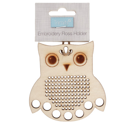 Embroidery Thread Floss holder owl with cross stitch centre