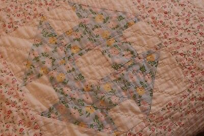 Vintage Cotton Patchwork Quilt 64x75 Sweet Old Fabrics