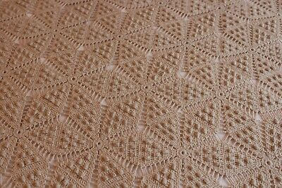 Vintage Fab Beige Hand Crocheted Cotton Bed Coverlet 74x88 Perfect!