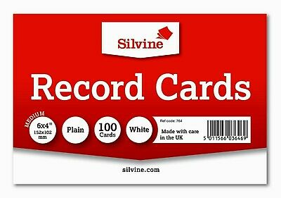 "Silvine Coloured Record Cards 6"" x 4"" PLAIN Flash Cards Revision Flash Cards new"