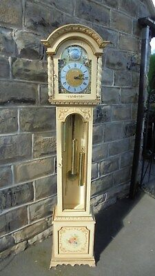 Decorative Painted Weight Driven Grandmother Clock