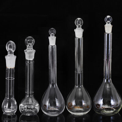 5/10/25/50/100/250ML Clear Glass Volumetric Flask  With Stopper Lab Glassware