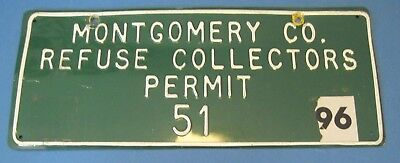 1996 Montgomery Co. Maryland Refuse Collectors Permit License plate