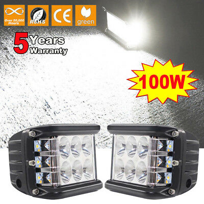 Pair 4inch 100W Side Shooter LED Work Light Bar Sides SPOT FLOOD Driving Offroad