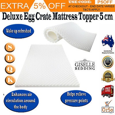 Egg Crate Shell Mattress Underlay Topper Protector 5cm Foam Deluxe Bed Sizes