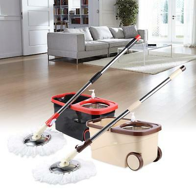 HOT~ Mop 360° Rotating Spin Magic Mop and Bucket Set Foot Pedal Stainless Steel
