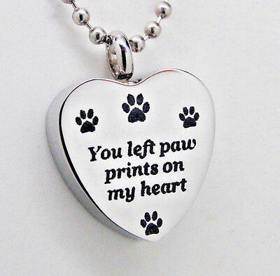 You Left Paw Prints on My Heart Paw Urn Necklace Cremation Jewelry Pet Memorial