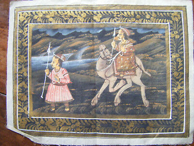 Vintage Indian Miniature Painting Mughal Folk Art on Cloth (No.2)