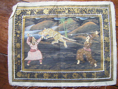 Vintage Indian Miniature Painting Mughal Folk Art on Cloth (No.3)