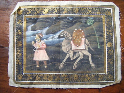 Vintage Indian Miniature Painting Mughal Folk Art on Cloth (No.5)