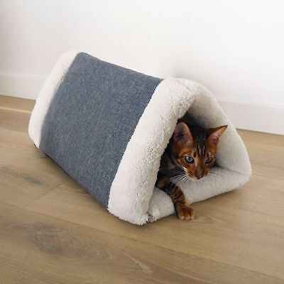 ROSEWOOD PLUSH 2 in 1 CAT COMFORT DEN PYRAMID CAT BED BLANKET MODERN  WASHABLE