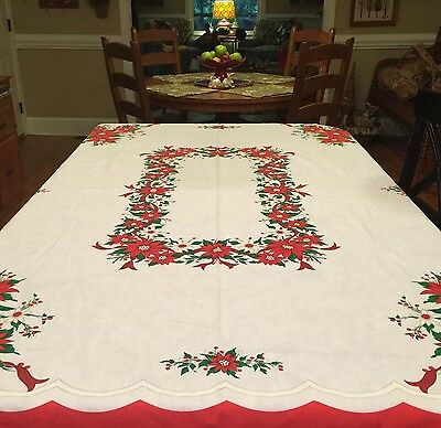 "Vintage Christmas Tablecloth 🎄Poinsettia Design 54"" X 69"" Brazil"