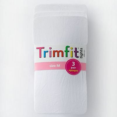 Trimfit Girl's Size Medium (7-10) White 3-Pack Opaque Footed Stretch Tights NEW