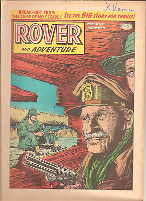 ROVER AND ADVENTURE,AUG. 24th,1963:D.C.THOMSON,32 PAGES:CAR CLUB BADGES BACKPAGE