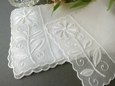 Daisies Vintage Madeira Embroidery Cocktail Napkins - Set of 6