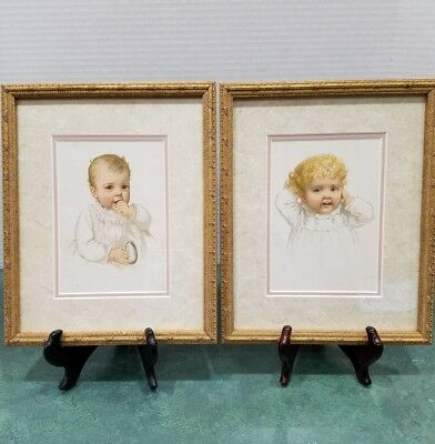 A Pair of Vintage Lithographs - Baby Portraits by IDA WAUGH Circa 1890