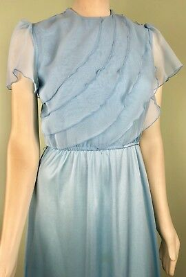 VINTAGE 70s Flowy Disco flutter sleeves MAXI gown dress boho JC Penney XS S VTG