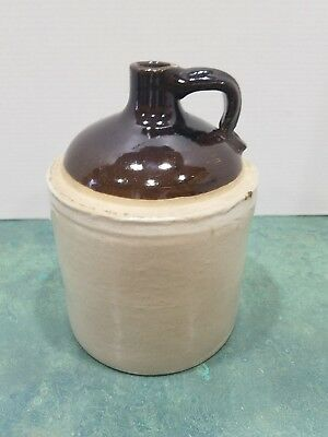 Vintage Whiskey Jug, Brown and Tan, 1 Gallon Stoneware Jug