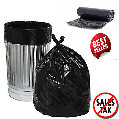 100 Plastic Trash Bags 30Gallon Black Strong Tall Heavy Duty Garbage Kitchen Bag