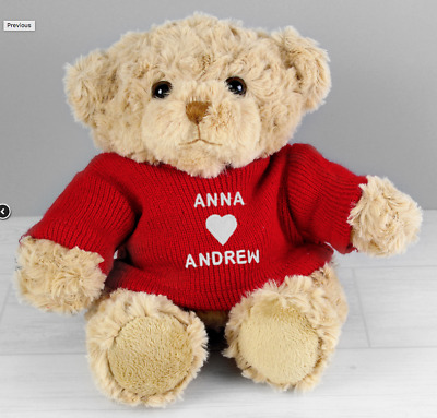 PERSONALISED TEDDY BEAR Engagement Christmas Valentines Day Present Gift Idea