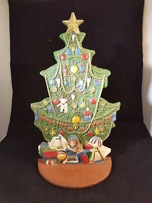 """Vintage Cast Iron Hand Painted Christmas Tree 11"""" Tall Door Stop"""