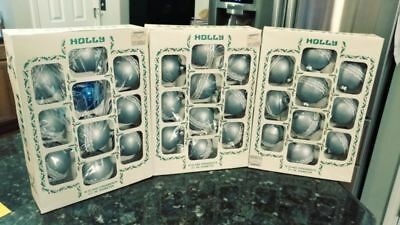 "Lot 3 Vintage Box Of 10 ""Holly"" Mercury Glass Christmas Ornaments Silver Ribbon"