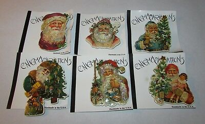 6 Enigma Variations Father Christmas Old Tyme Santa Claus Pins Brooches