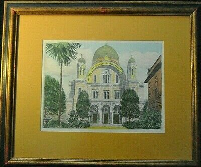 """Sziklay Bela Artist Antique Color Etching Signed * The Synagogue"""" Firenze Italia"""