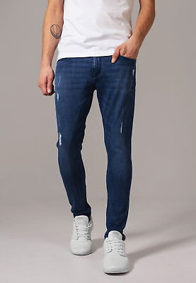 URBAN CLASSICS Herren Jeanshose Skinny Ripped Stretch Denim Pants | 7 8 hose 3 4