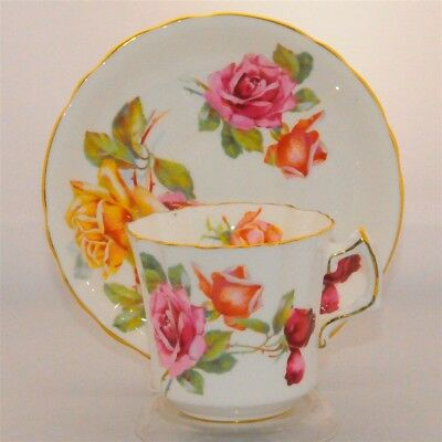 Large Red, Yellow & Pink Roses Floral Hammersley Tea Cup and Saucer Set