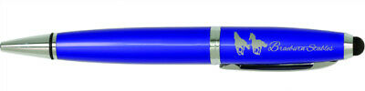Blue With Silver Trim Ballpoint Pen With Stylus  - Engraved Free