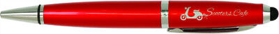 Red With Silver Trim Ballpoint Pen With Stylus  - Engraved Free