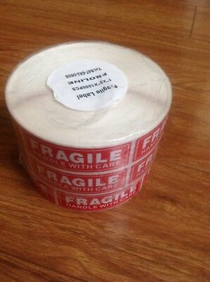 """3 Rolls @1000 Per Roll 1""""X 3""""~FRAGILE~Handle With Care~STICKERS LABELS~Easy Peel"""