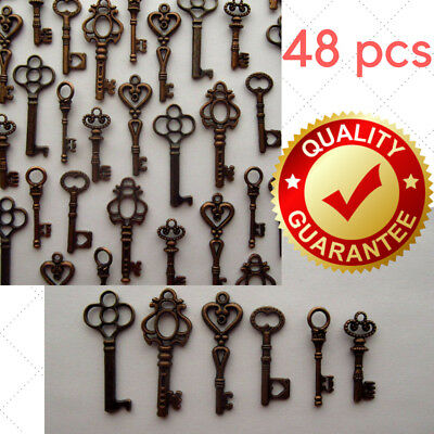 Lot Of 48 Vintage Style Antique Skeleton Furniture Cabinet Old Lock Keys Jewelry