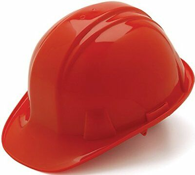 Pyramex Cap Style 4 Point Ratchet Suspension Hard Hat with Rain Trough - Low Red