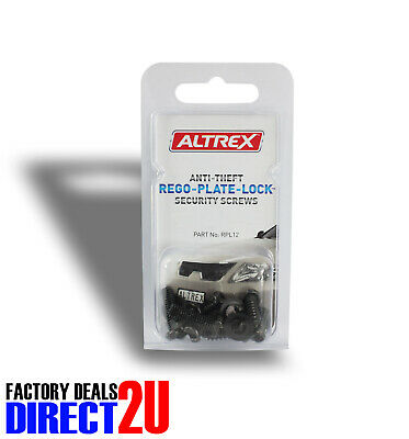 Altrex Number Plate Rego Anti-Theft Security Screws 3 Types - Pack of 12 #RPL12