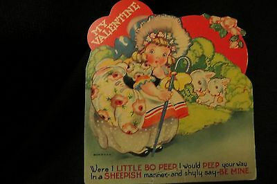 Vintage MARY HAD A LITTLE Lamb Valentine card c. 1940s
