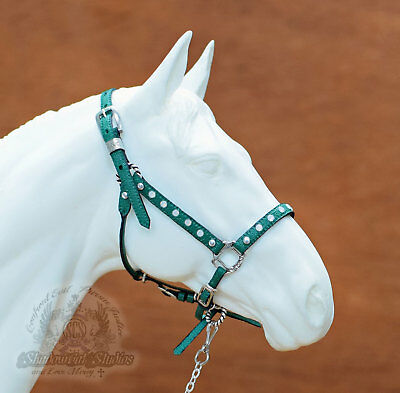 Custom Traditional Scale JADE GREEN Leather Opal Halter fits Breyer Peter Stone