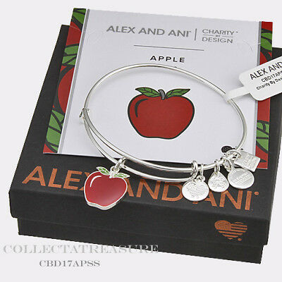 Authentic Alex and Ani Apple Shiny Silver Charm Bangle CBD